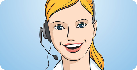 Customer support blond woman smiling with headset