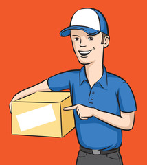 delivery man smiling with box