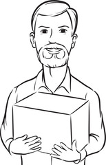 whiteboard drawing - bearded delivery man with box