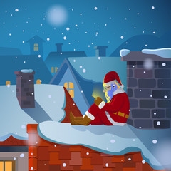 Santa chat on the roof