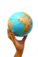 hand holding the globe