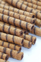 Wafer Roll with chocolate flavour cream and cocoa coating