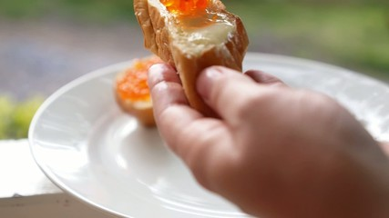 French Bread with Red Caviar. Healthy Luxury Lifestyle.
