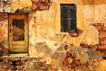 vintage old wall and wood door and window