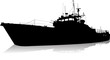 Vector silhouette of the military ship - 75018086