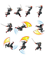 Ninja Flying Attack Game Sprite