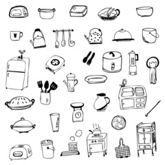 Kitchen equipment symbol sketch vector isolated