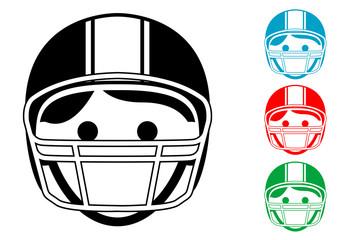 Pictograma icono jugador de football con varios colores