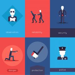 Security guard mini poster set