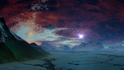 Sunrise stars (UFO) over the ice desert