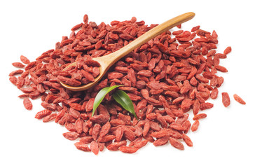 Goji berries on white background