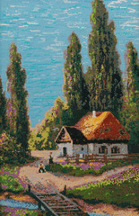 Summer landscape with a small house