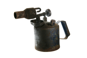 blowlamp blowtorch vintage isolated rusted