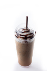 Ice mocha coffee in plastic cup