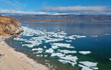 Lake Baikal. Spring morning. Floating of ice