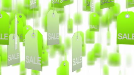 Green sale tags on white background, loop ready. Alpha matte.