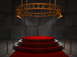 Empty red stage