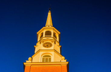 Evening light on the steeple of a church in York, Pennsylvania.