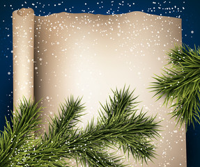 Christmas old paper background with fir twigs.