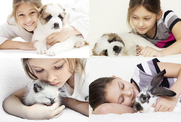 child hugging a puppy and kitten and rabbit