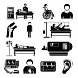 Life support medical equipment icons poster