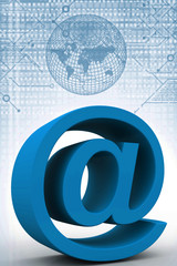 Three dimension sign of e-mail on business chart
