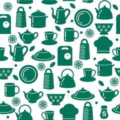 Seamless pattern of kitchen utensils in outline style