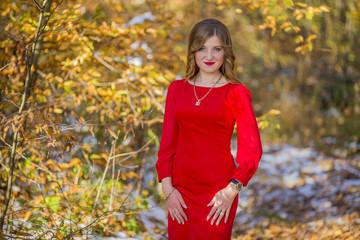 Girl red dress