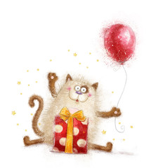 Birthday invitation.Birthday party. Cat with gift and balloon.