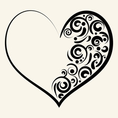Beautiful silhouette of heart with swirls. Vector illustration.