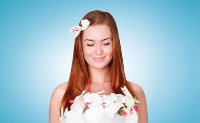 Beauty, cosmetology and health skin concept - lovely smiling wom