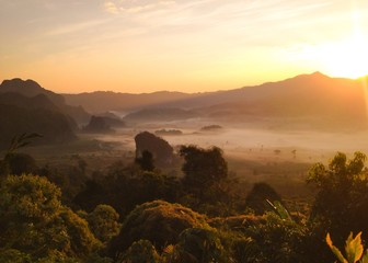 Natural landscape view of mountain with sun rise in Thailand
