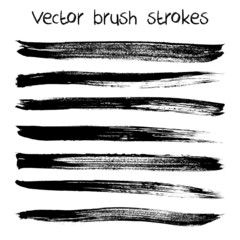 Vector set of hand drawn abstract brush strokes and shapes