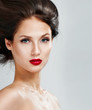 Beautiful woman with magnificent hair.  Red lipstick.