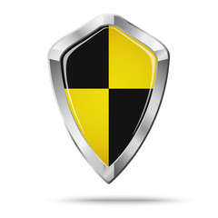 Silver and black and yellow shield security concept isolated