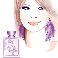 Young pretty woman advertising for perfume