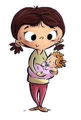 niña jugando con muñeca