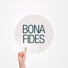 Hand pressing Bona Fides button