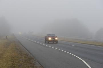 Truck Driving In Heavy Fog