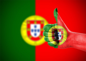 Flag of Portugal on hand