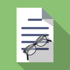 Vector Glasses and Paper Document