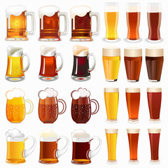 set of mugs with a light and dark beer