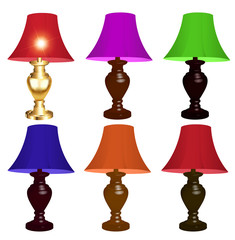 set of colored table lamps on a white background