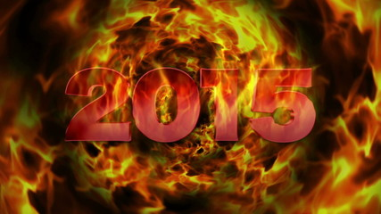 2015 Fiery New Year and Flames Explosion, with Alpha Matte