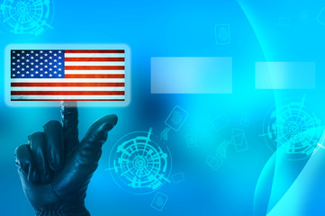 Hacking United States of America concept with hand wearing black