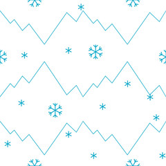 vector seamless pattern winter, mountains and snowflakes