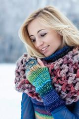 Romantic winter portrait of beauty girl