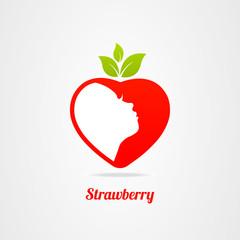 Graphics design icon face logo strawberry