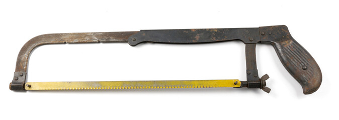 Old Bow Saw in White background