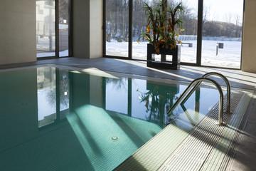 pool in hotel spa interior